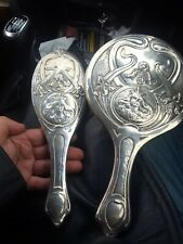 More details for british sterling silver  original art nouveau period  embossed mirror and brush