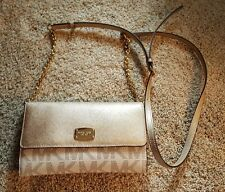 Michael Kors Crossbody Purse Gold/Cream