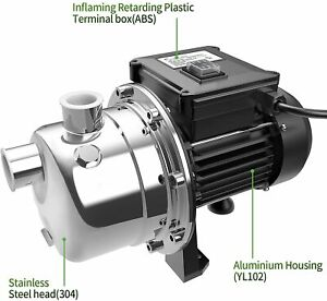 New Lanchez 1.6 HP Shallow Well Jet Pump Portable Stainless Steel Water Transfer