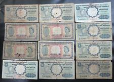 12 British Malaya & Borneo $1 / one dollar notes, 1953, 1959, Queen Elizabeth II
