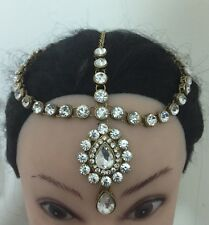 Golden Crystal Indian Matha Patti Tikka Head Chain Jewelery Bridal Wedding No3