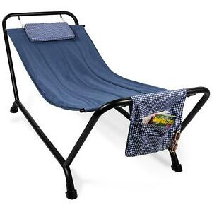 Patio Hammock With Stand Pillow And Storage Pockets Outdoor Yard Garden Pool Bed