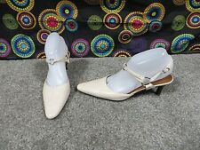 Sesto Meucci Off-White All Leather Heels w/Strap & Ring Design, sz 8.5N