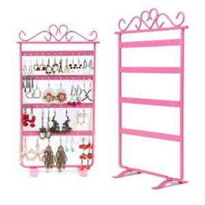 48 Holes Pink Earrings Jewelry Display Rack Stand Holder Storage Showcase UK