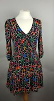 Topshop Chiffon Tropical Butterfly V Neck Floaty Fit and Flare Dress Size UK 10