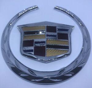 2007-2014 Cadillac Escalade Front Grill Emblems #2298536 2 Piece WREATH CREST GM