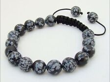 Gemstone Shambhala bracelet all 10mm Natural Snowflake Obsidian Gems Round Beads