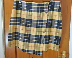 Next Size 14 Smart Casual Yellow Check Button Up Short Skirt