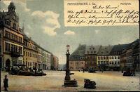 Frankenberg Sachsen 1904 Häuser buntes Treiben Marktplatz AK  n/ Leipzig Gohlis