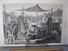 Vintage Print,SUNDAY ON CANAL,Harpers,1873
