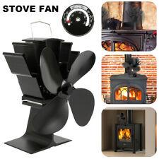 Stove Fan 4 Blade Wood Heater Eco Fireplace Fire Heat Powered Fuel Saving Ecofan