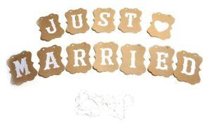 Just Married Girlande Hochzeit Standesamt Hochzeitskette Love Herz Vintage