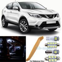 For Nissan Qashqai J10 2007-2013 LED Interior Kit Premium 9 SMD Bulbs HID White