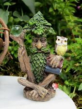 Miniature Dollhouse Fairy Garden ~ Mini Tree Wizard Figurine w Books, Orb & Owl