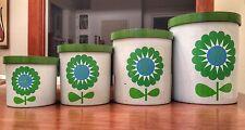 Vintage Melamine Serenade Canister Set Nesting Kitchen Flower Power RARE!  Green