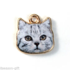 10PCs Gold Plated Grey Cat Face Pattern Metal Pendants Diy Jewelry 13x13mm