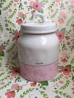 Rae Dunn by Magenta Artisan Collection SNACK Jar Pink/ black polka dot trim.