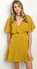 Mustard new Chiffon Evening Ruffle Cocktail Party Lined flare Skater Shift Dress