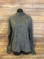 Nike Running Long Sleeve Shirt Size Large Funnel Neck Gray Womens Athletic Top
