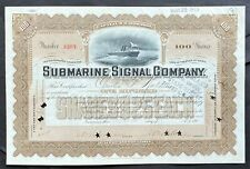 SUBMARINE SIGNAL CO Stock 1907 Boston Sonar Navigation Pioneers EARLY ISSUE VF++