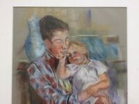 Antique Impressionist Pastel Painting Of Mother and Child