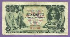 [AN] Czechoslovakia 100 Korun 1931 P23a Not Perforated Nice Grade