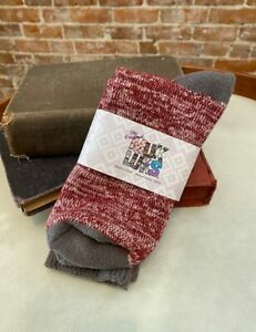 MUK LUKS Burgundy Heather Microfiber Comfy Soft Lounge Boot Socks O/S New