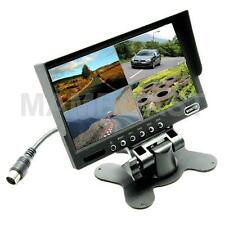 "7"" TFT-LCD Car Rearview Quad Split Monitor Remote Control 4 CH Video Inputs"