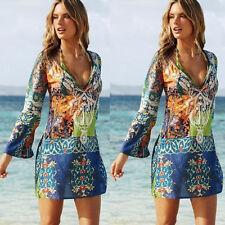 Women Swimwear Bikini Beach Wear Cover up Kaftan Ladies Summer Short Mini Dress XL