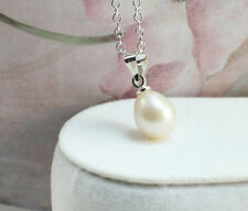 Freshwater Pearl Necklace/Pendant-White Pearl With Silver Plated Chain