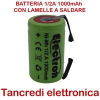 Batteria NiMh 1/2 A 1,2V 1000mAh con terminali a saldare tabs lamelle linguette