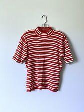Large Womans Vintage Ribbed Striped Mock Neck Short Sleeve Knit Top