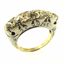 5 Stone Old Mine Cut Diamond Ring 18k Gold Vintage 1800s Size 5 White Yellow 750