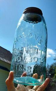 Mason's Patent Nov 30th 1858 2 Quart Fruit Jar CFJ Co Aqua  Zinc Cap Antique