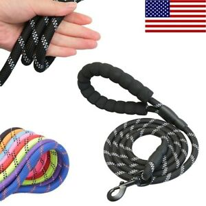 5FT Large Pet Dog Leash Rope Heavy Duty Reflective Nylon Leads with Comfy Handle