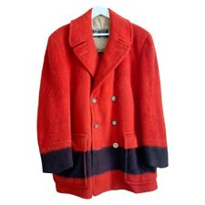 Vintage HBC 40s Hudsons Bay Point Blanket Pea Coat Size XL Red Black England
