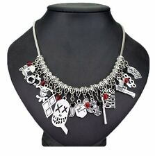 DC Comics Harley Quinn (12 Themed Charms) Silvertone Charm Necklace