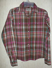 EXCELLENT WOMENS Wrangler WESTERN PEARL SNAP BROWN PLAID BLOUSE  SIZE S