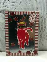 "ACEO Artist Trading Card ""HOHOHO Red Cat"" Handmade Stickers & Glitter"