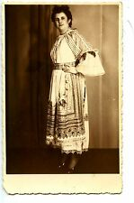 Elaborate Peasant Style Lace Dress-Young Lady-RPPC-Vintage Real Photo Postcard