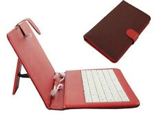 Red & Black Grid Pattern PU Leather Tablet Case Stand Cover with USB Keyboard