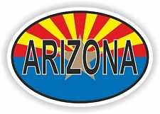 OVAL ARIZONA STATE WITH FLAG USA STICKER AUTO MOTO TRUCK LAPTOP BIKE TABLET CAR