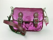 Coach 16315 Poppy Pocketed Pink Emerald Mini Sequin Crossbody Bag Purse Bling