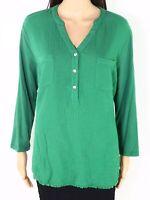 Westbound Women's Top Green Size XL Fringe-Hem Woven-Back V-Neck $44- 037