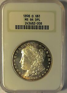 1898-O Morgan Silver Dollar - NGC MS-64 Deep Proof Like - Part of Logo Missing