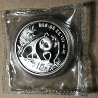 1990 China Panda Silver 10 Yuan 1 Oz Coin, DOUBLE SEALED UNC Condition