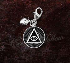 925 Sterling Silver Charm Illuminati All Seeing Eye Pyramid