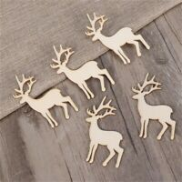 5Pcs Wood Reindeer Veneers Slices DIY Decoration Christmas Tree Hanging Pendants