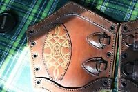 Celtic Brown Leather Bracers Larp Medieval Arm Gaurd Armor SCA cosplay pirate