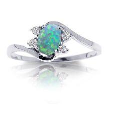 Australian Mystic Green Fire Opal Oval Yin Yang Sapphire CZ Sterling Silver Ring